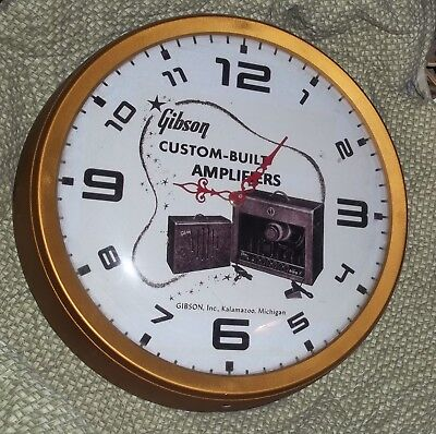 """14"""" GIBSON AMPLIFIER CLOCK w glass face cover  - WORKS"""
