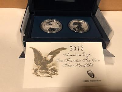 2012 S United States Mint American Eagle Two-Coin Silver Proof Set W/coa