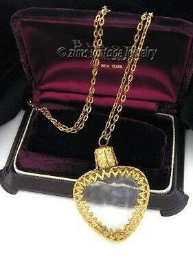 Vintage ART DECO Gold filigree glass HEART Perfume Bottle pendant Long NECKLACE