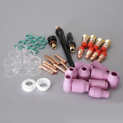 49 pcs TIG Welding Torch Gas Lens parts Kit, for WP-17 WP-18 WP-26 Tungsten