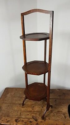 VINTAGE EDWARDIAN ART DECO 1930's WOOD FOLDING CAKE STAND MADE IN ENGLAND