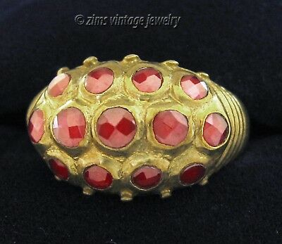 Vintage Unusual MODERNIST Bronze faceted RED Crystal dot Domed band RING sz 6.5