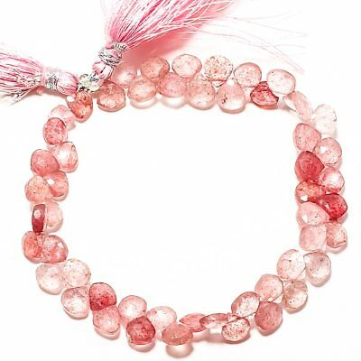 "66Ct Strawberry Quartz Natural Gemstone Heart Shape 7 Mm-7 Mm 8.5"" Strand"