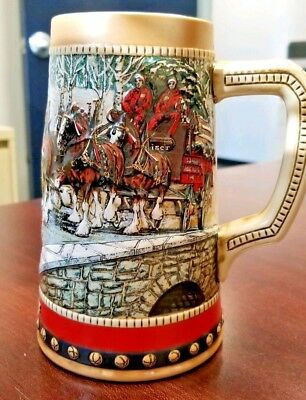 Vintage 1988 Budweiser Holiday Stein Collectors Series Clydesdale Anheuser Busch