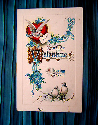 c1907 German-made embossed Valentine postcard, 2 Doves on Limb & Forget-Me-Nots