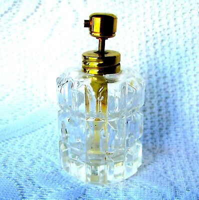 Vintage Pressed Glass Perfume Bottle With Gold Finish Atomizer Circa 1930s