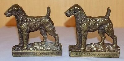 Fine Antique Victorian Cast Brass Wire Haired Fox Terrier Bookends / Book Slides