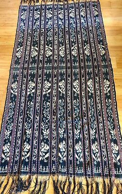Vintage  Savu Indonesia Warp Ikat Selandang Shawl Natural Dyes Handspun Cotton