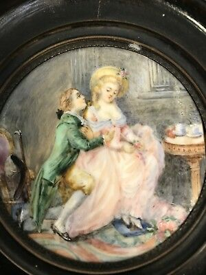 Good quality French 19th century antique miniature painting
