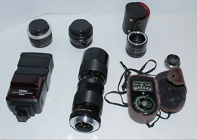 Lot of Camera Related Items, Lenses , Flash, Light Meter , Lens Adapters