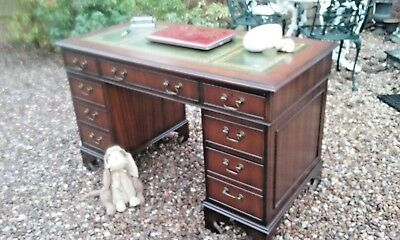 Antique Regency Style Mahogany Leather Topped Pedestal Writing Desk.