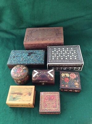 Collection of 8 mixed Asian/Oriental boxes - wood, papier mache, metal.