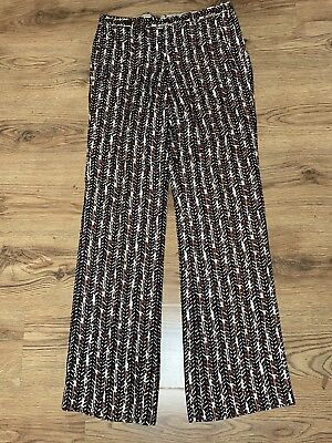 Vintage Mid 1960s Carlo Palazzi For Jaeger Mens Linen Print Mod Trousers 32 33