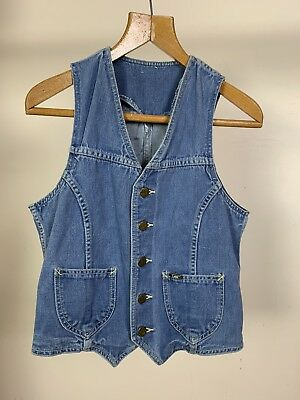 Mens XS 34 Chest Vintage LEE Denim Waistcoat 1970s