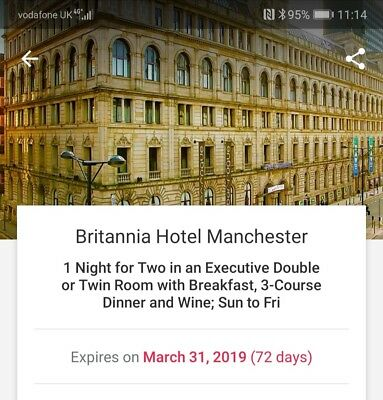 1 Night Stay britania Hotel Manchester, 3course meal wine and breakfast voucher