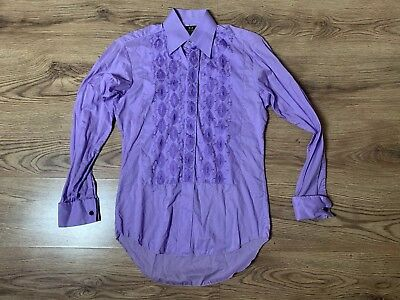 Mens Vintage 1970s Shirt Purple Embroidered Mod