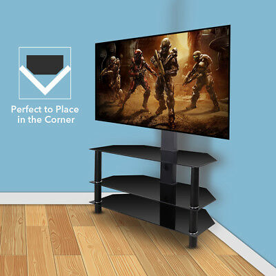 3 Tiers Glass TV Unit Cabinet Cantilever TV Stand with Bracket 32 to 60 inch LCD