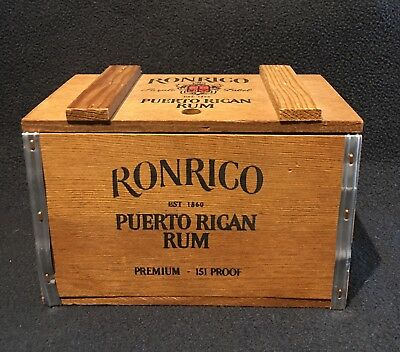 Vintage Ron Rico Puerto Rican Rum Miniature Wooden Box Crate With Metal Edges..