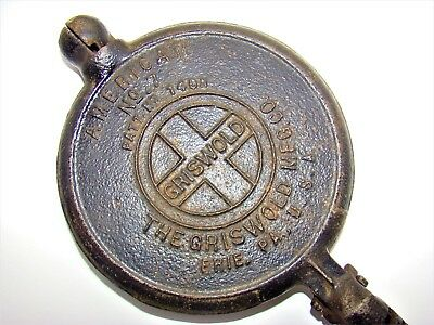 Vintage Griswold American No. 7 Waffle Iron Cast Iron Erie Pa