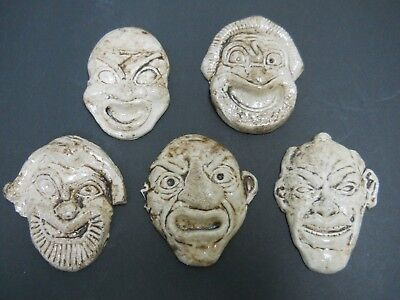 5 Pottery Ceramic Faces Heads or Japanese Lucky Gods