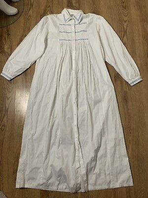 Vintage Victorian Style 1980s Night Gown White Cotton Long By Nightingales