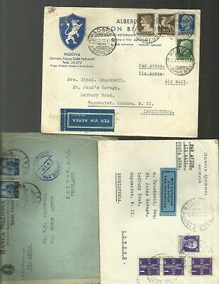 Italy  1930/40 airmail covers x 3 incl censored