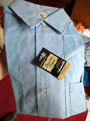SMALL NOS NWT TRUE VTG 50s 60s SHIRT JAC VANDERBILT SS ATOMIC 2 TONE BLUE SHIRT