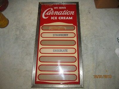 Vintage We Serve Carnation  Ice Cream Store Sign Metal & Glass 20 x 10 inches