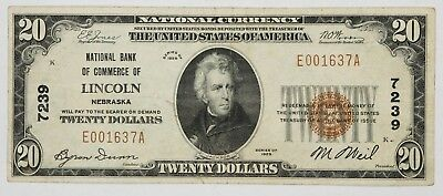 1929 National Banknote $20 Lincoln Nebraska - Type 1 Choice Vf Very Fine (637A)