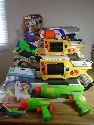 Nerf Guns New/Used Lot of 10 Plus Extra's