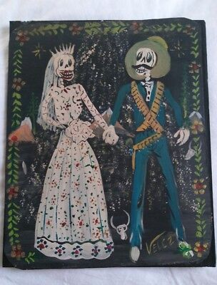 Rare Mexican Folk Art Velez Tin Painting Rustic Day of the Dead Wedding Signed
