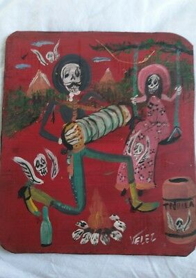Rare Mexican Folk Art Velez Tin Painting Rustic Day of the Dead Romantic Couple