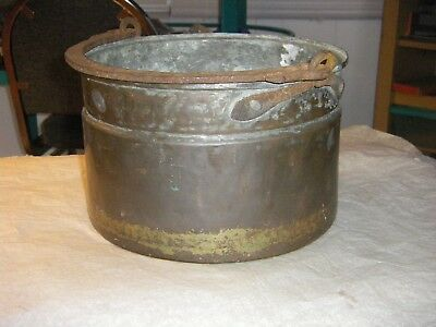 Vintage Primitive  Copper & Iron Hanging Cauldron Kettle Cooking Pot