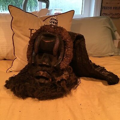 Carved African / Tribal Mask With Hair And painted with shells and beads
