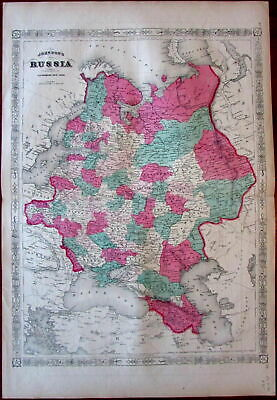 Russia in Europe Poland c.1867 Johnson large original hand color old map
