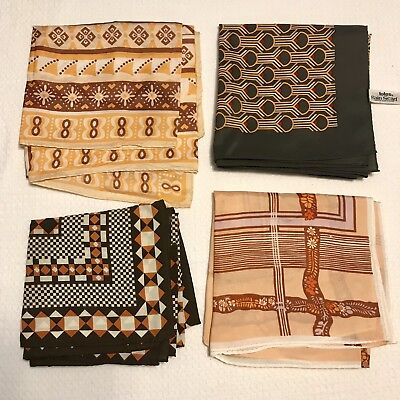 4 Scarves Square Totes Rain Water Repellent Acetate Poly Gold Tan Vtg Scarf Lot