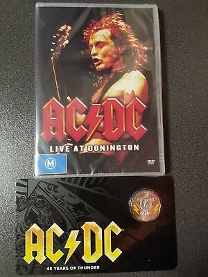 """2018 AC/DC 45 Years of Thunder 50c Unc. Coloured Coin + DVD """"LIVE IN DONINGTON""""."""