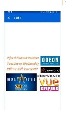 MEERKAT MOVIES 2-for-1 CINEMA TICKET CODE, Odeon, Cineworld, Showcase, Vue, Empi