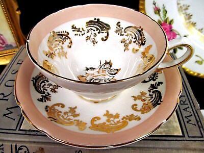 STANLEY  tea cup and saucer peach band gold gilt roses teacup pattern scrolls