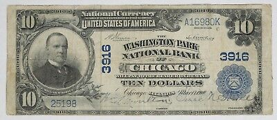1902 Pb National Banknote $10 Washington Park Chicago Illinois Circ F Fine (980K
