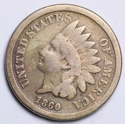 1860 Indian Head Cent Penny / Circulated Grade Good / Very Good Coin