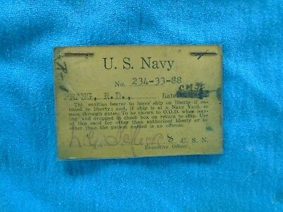 WWII US Navy named yellow liberty card with finger prints