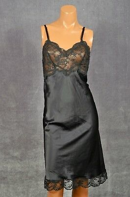 Fischer Heavenly Lingerie 34 S Black Silk Blend Slip Sheer Lace Bust Sexy!