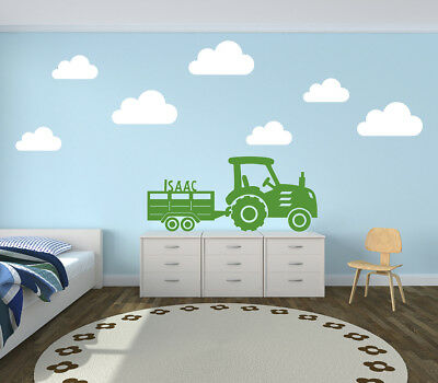 Personalised Tractor and Trailer with Clouds Wall Stickers Farm Yard Decal