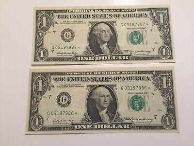 1969   - Consecutive Notes - REISSUED STAR  $1 One Dollar Bill - Old Paper Money