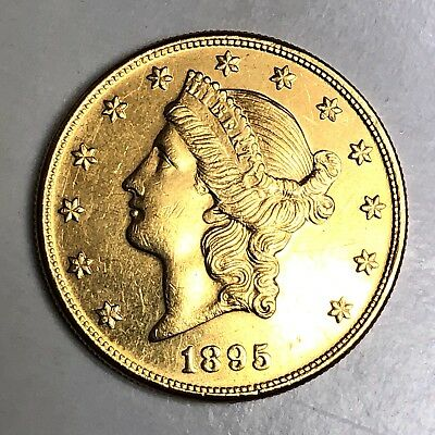 1895-S $20 Dollar Liberty Head Gold Double Eagle American Coin - Nice Condition