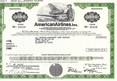 Stock Certificate of American Airlines