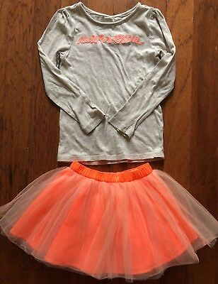 Girls Bright Awesome Long Sleeve Shirt & Tutu Skirt Outfit Size 5