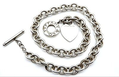 """TIFFANY & CO. Sterling Silver Ladies 16"""" Necklace with Toggle Clasp & Heart Tag"""