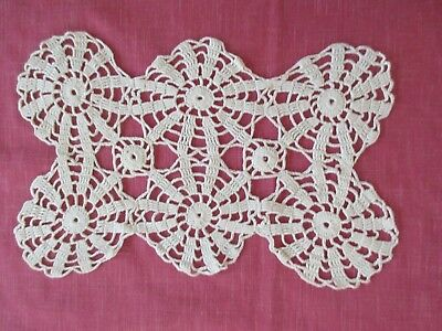"Vintage Hand Crocheted White Table Doily, 6 Sections into 1 doily, 14""x9"""